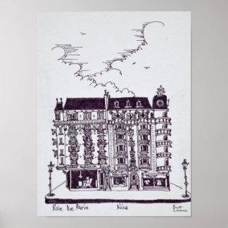 Poster Café & lojas em agradável velho do de Paris | da