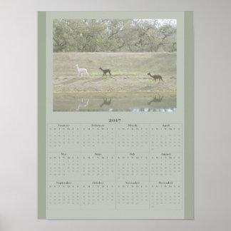 Poster - calendário 2017 da alpaca pôster
