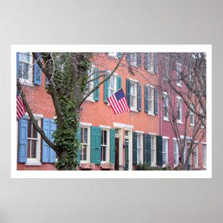 Póster Casas com as bandeiras em Philadelphfia