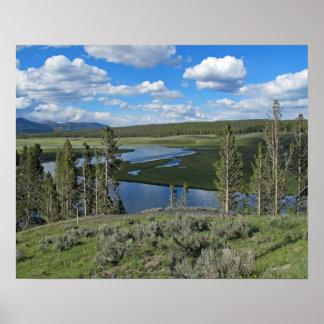 Poster cénico da opinião de Yellowstone River Pôster