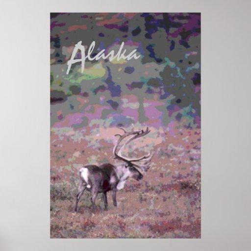 Poster cénico decorativo de Alaska do caribu