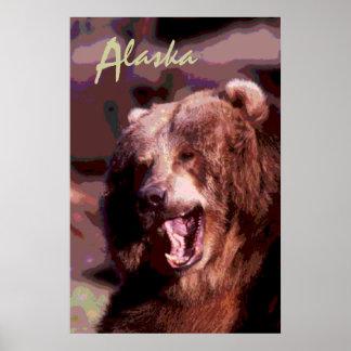 Poster cénico decorativo de Alaska do urso Pôster