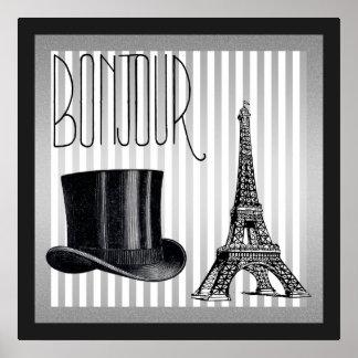 Poster Chapéu alto e torre Eiffel de Bonjour