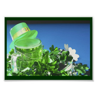 Poster Chapéu alto verde & cerveja verde -