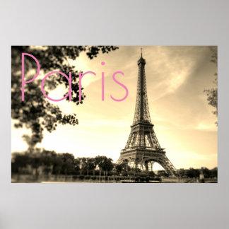 Poster Cidade do amor de Paris da torre Eiffel do Sepia
