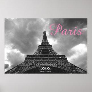 Póster Cidade romântica do amor de Paris da torre Eiffel