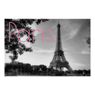 Poster Cidade romântica do amor de Paris da torre Eiffel