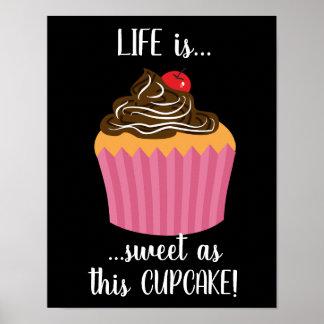 Póster Citações cor-de-rosa bonitos da vida do cupcake