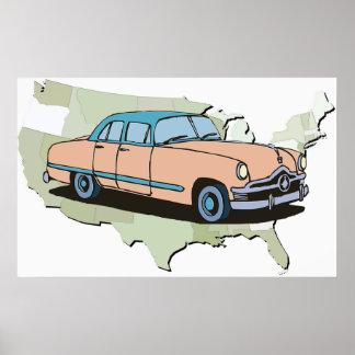 Poster clássico do carro do vintage