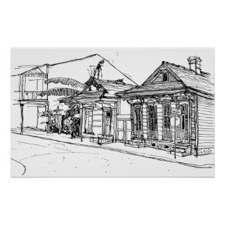 Póster Cnr. St. Phillips & ruas de Borgonha, Nova Orleães