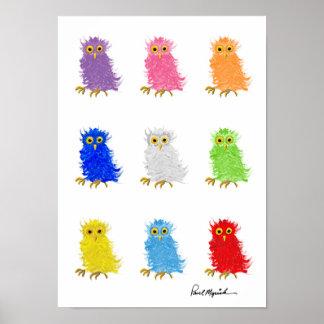Poster colorido da coruja de celeiro por Paul