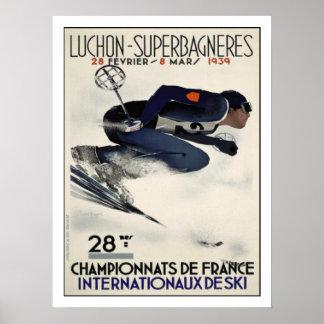 Poster com o poster legal do esqui de France