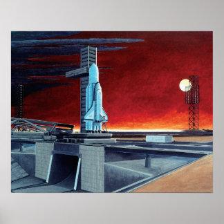Poster Conceito soviético do Launchpad da Lua cheia do