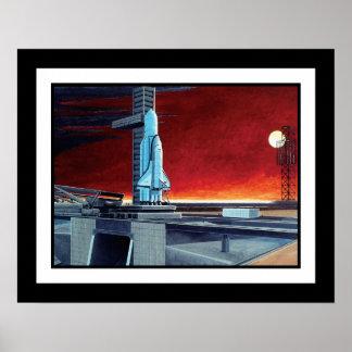 Póster Conceito soviético do Launchpad da Lua cheia do