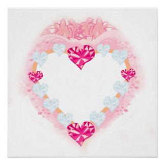 poster cor-de-rosa do coração dos namorados poster perfeito