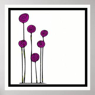 Poster cor-de-rosa do desenho da flor