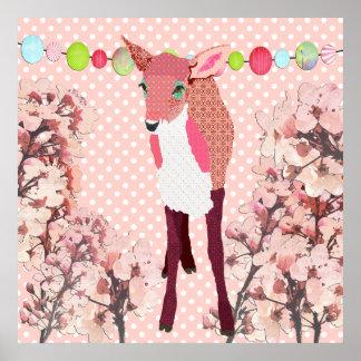 Poster cor-de-rosa do Pok-um-ponto da jovem corça Pôster