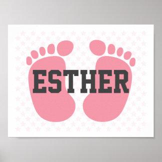 Poster cor-de-rosa dos pés do bebê com nome pôster
