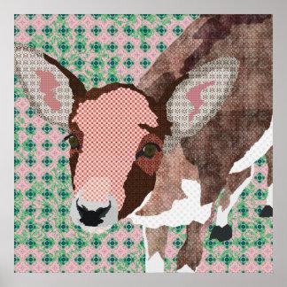 Poster cor-de-rosa & verde dos cervos queridos da