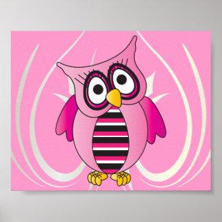 Poster Coruja cor-de-rosa bonito