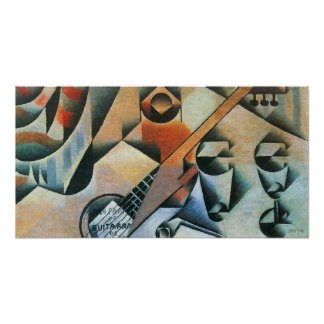 Póster Cubism do vintage, vidros da guitarra (banjo),