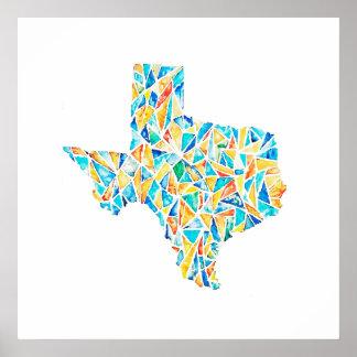 Poster customizável da aguarela de Texas do vitral