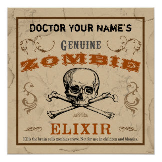 Poster customizável do elixir do zombi pôster
