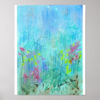 Poster da aguarela do abstrato da chuva do verão