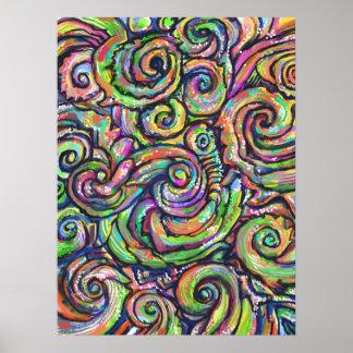 Poster da arte abstracta de Swirly