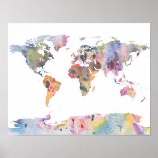 Poster da arte abstracta do mapa do mundo do