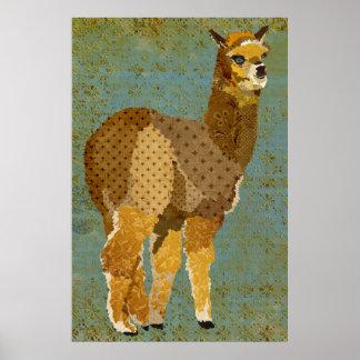 Poster da arte da alpaca do Grunge do ouro