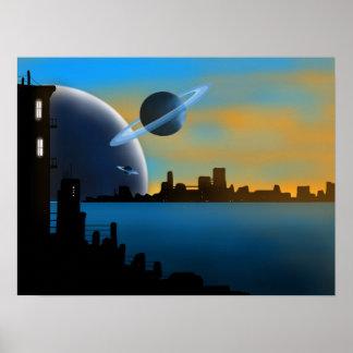 Poster da arte da cidade do SciFi
