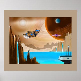 Poster da arte da paisagem de Starship e de Scifi Pôster
