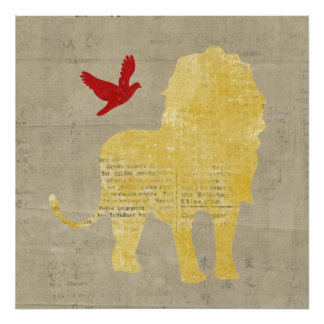 Poster da arte da silhueta do leão