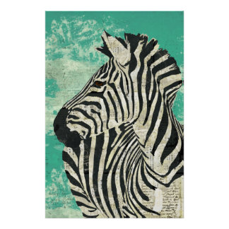 Poster da arte de turquesa da zebra do vintage