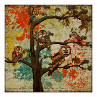 Poster da arte do carvalho da coruja