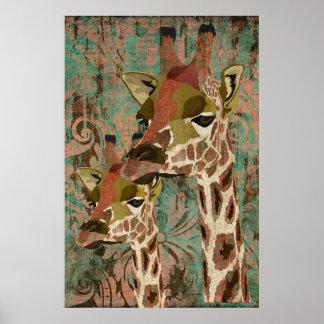 Poster da arte do damasco dos girafas de Rosa