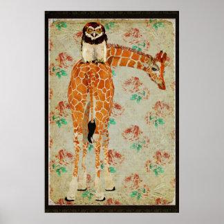 Poster da arte do falcão do girafa da coruja