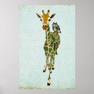 Poster da arte do girafa & da coruja do jade