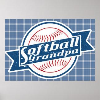 Poster da arte do vovô do softball pôster