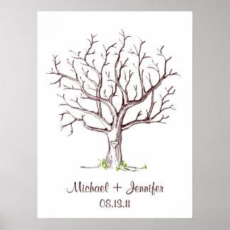 Poster da árvore da impressão digital do casamento