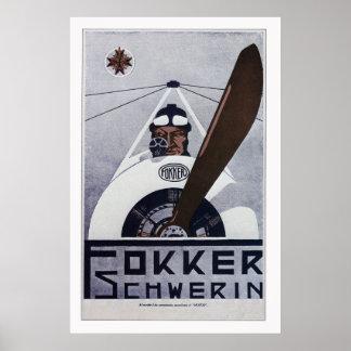 Poster da aviação de Schwerin WW1 do Fokker - gran
