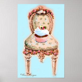 Poster da cadeira do cupcake e do Victorian