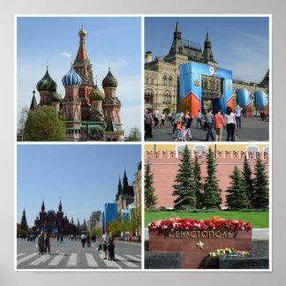 Poster da colagem do quadrado vermelho de Moscovo Pôster