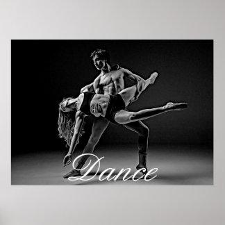 Poster da dança, foto romântica preto e branco da pôster