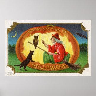 Poster da decoração do gato da coruja da bruxa do