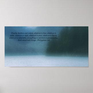 Poster da escritura da bíblia de Como do lago