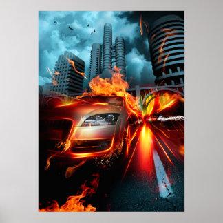 Poster da fantasia do carro do fogo