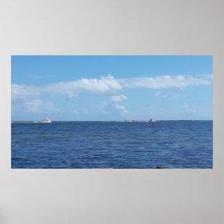 Poster da fotografia da via navegável dos barcos