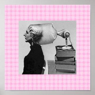 Poster da loja de beleza dos anos sessenta do vint